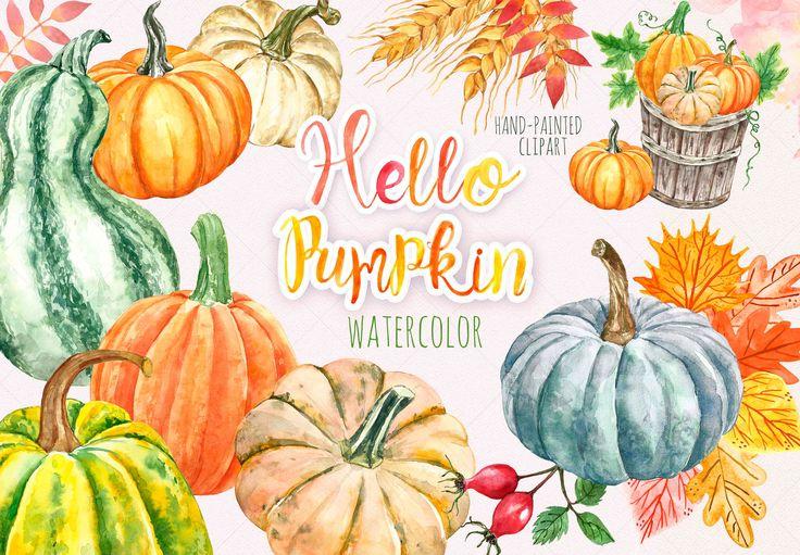 Watercolor Autumn Pumpkin Clipart Harvest Fall Leaves Pumpkin Etsy Pumpkin Clipart Watercolor Autumn Leaves Thanksgiving Clip Art