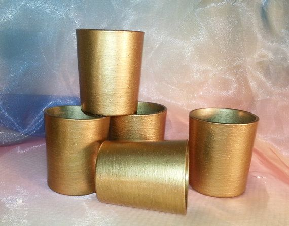 12 Gold Votive Candle Holders Weddings and by VotivesGaloreAndMore