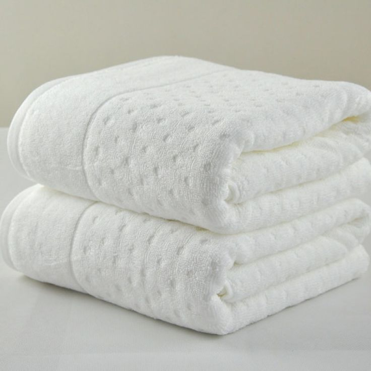 """Soft Thick Cotton Dots Embossing Hotel Bath Towel 28""""x59"""" 500G White/"""