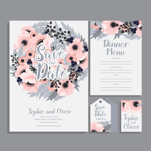 Wedding Invitation Card Suite With Flowers Template Vector Illustration Free Vect Wedding Invitation Cards Wedding Invitation Templates Wedding Invitations