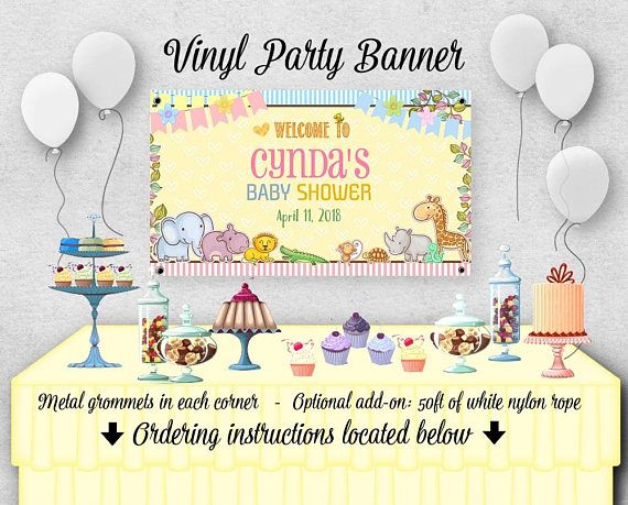 Digital File Candy Table Backdrop Baby Shower Birthday Etsy Vinyl Banners Baby Shower Baby Shower Birthday
