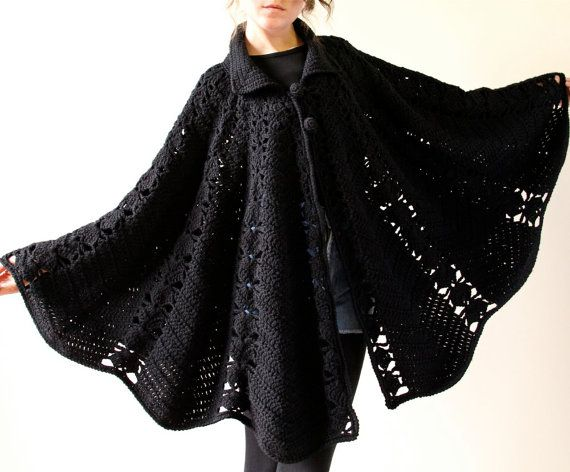 60s Mod Crochet Cape black minimalist boho by factoryhandbook on etsy