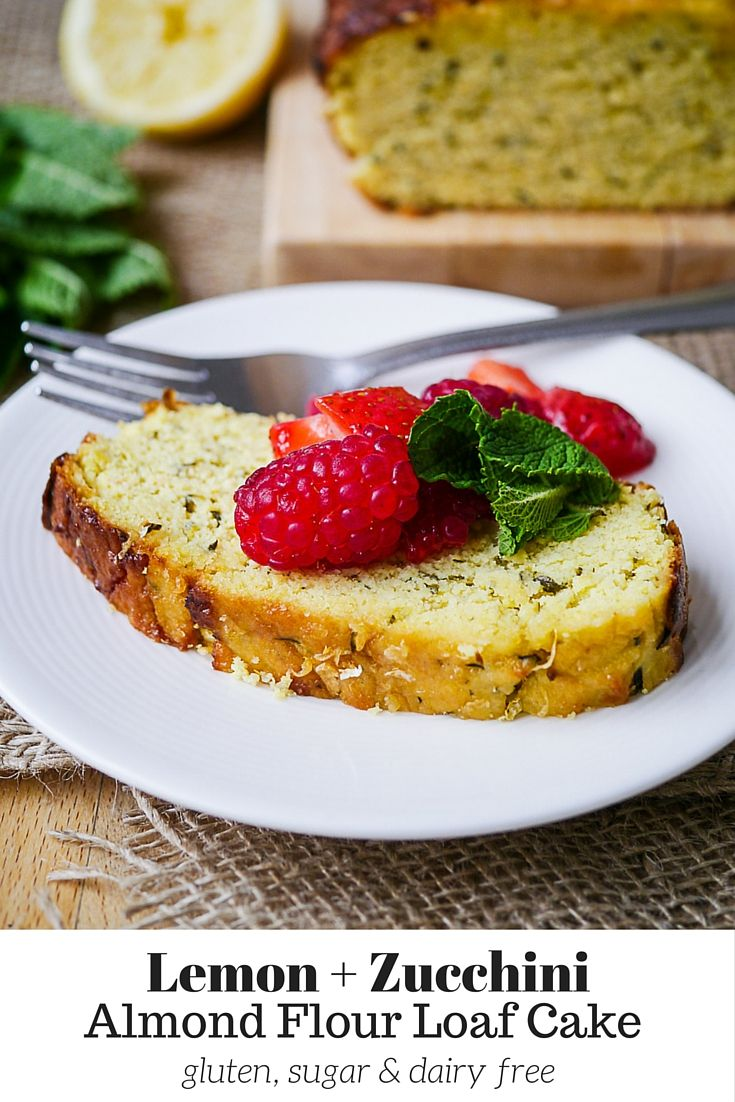 Almond Flour Lemon Zucchini Loaf Cake by Nourish Everyday - gluten free, dairy free and sugar free, this easy loaf cake is bursting with fresh lemon flavour and is deliciously sweet!
