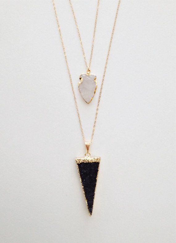 24k Gold Dipped Black Triangle Druzy Stone Necklace by dAnn