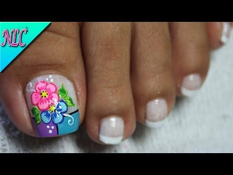 DECORACIÓN DE UÑAS PARA PIES FLORES Y FRANCÉS♥- FLOWERS NAIL ART - FRENCH NAIL ART - NLC - YouTube