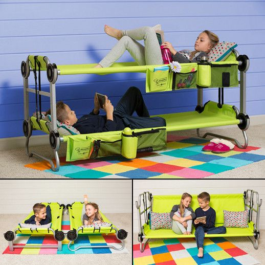 The Kid-O-Bunk is a great addition to sleepovers, camping, or outdoor adventures. It can be configured as a bunk bed, single cots, or as a bench for seating space.