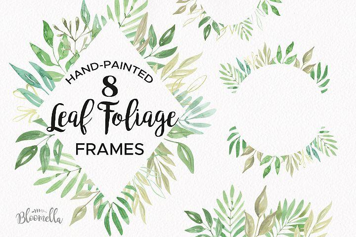 db4ec5c2479c Leaf Foliage Frames 8 Watercolor Greenery Clipart Border Leaves in ...