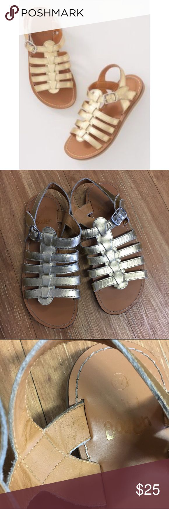 Mini Boden Gold Sandals 37 Gladiator 5 Mini Boden Gold Sandals 37 Gladiator 5  Big girl 5 or Euro 37.  Good to very good used condition.  Saw some wear but definitely not every day.  Plenty of life left.  #gladiator #gold #shimmer #shine #sparkle #sandals #coolkicks #summershoes #minibodenbrandlove Mini Boden Shoes Sandals & Flip Flops