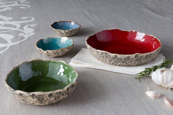 Handmade ceramic serving bowls  by KARI CERAMICS on Etsy