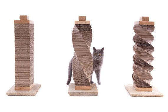 A contemporary cat scratcher handcrafted using traditional materials but constructed with a twist to compliment the modern, contemporary home.