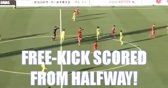 [Video] Crazy Free-kick Scored From Halfway - A player in Japanese football cheekily takes a quick free-kick from close to the halfway line and beats the keeper. - http://ow.ly/WACD1 #soccer #football #soccergoals #footballgoals #epicgoals #free-kickgoals #amazinggoal #japanesefootball
