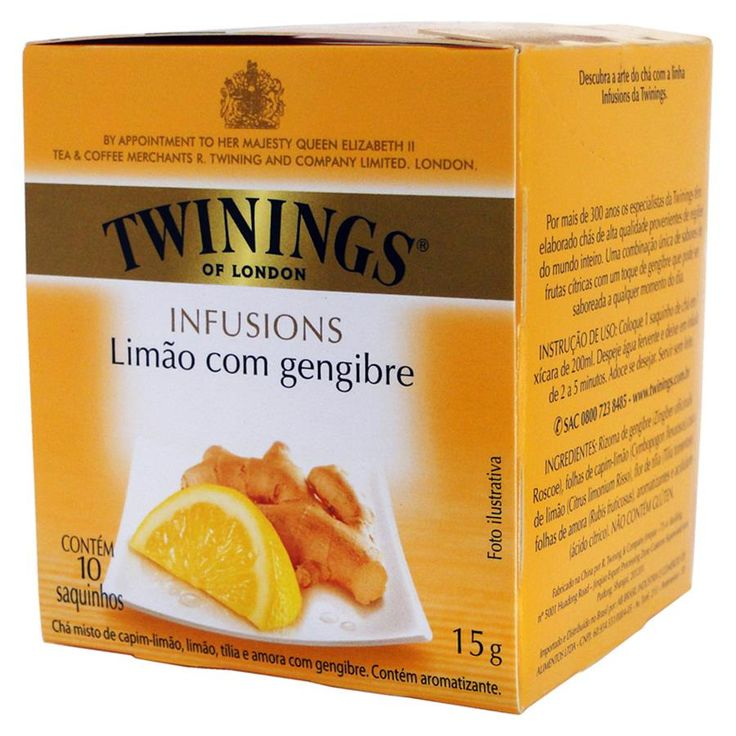 Chá Twinings of London Limão e Gengibre - Inglês Importado Chá Twinings Limão e Gengibre Inglês Importado. Infusão herbal com qualidade Twinings de sabor picante e encorpado. Caixa 10 sachês. - Loja Sensis