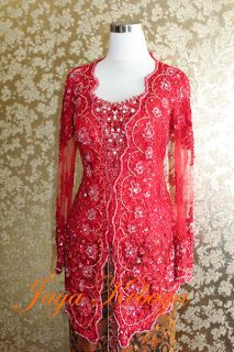 Tulle and payet with red full color kebaya modern dress.