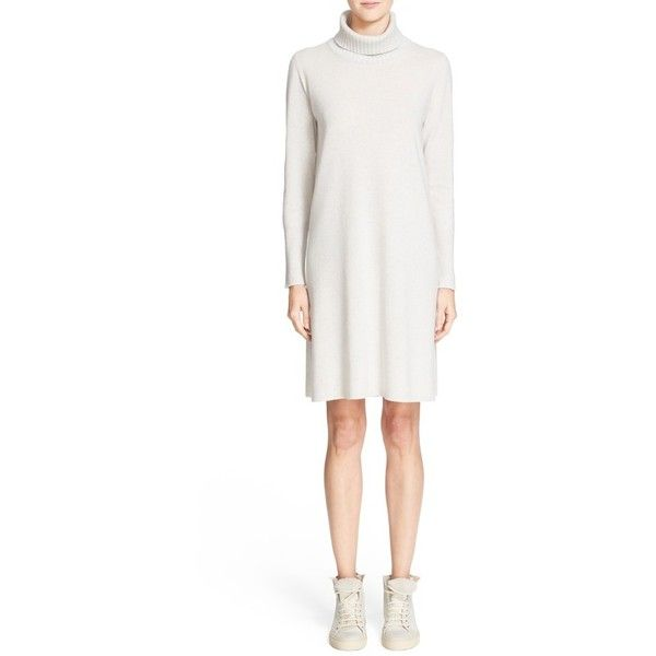 Fabiana Filippi Wool Blend Turtleneck Shift Dress ($575) ❤ liked on Polyvore featuring dresses, ice, turtleneck sweater dress, long sleeve dress, shift dress, long sleeve turtleneck dress and white long-sleeve dresses
