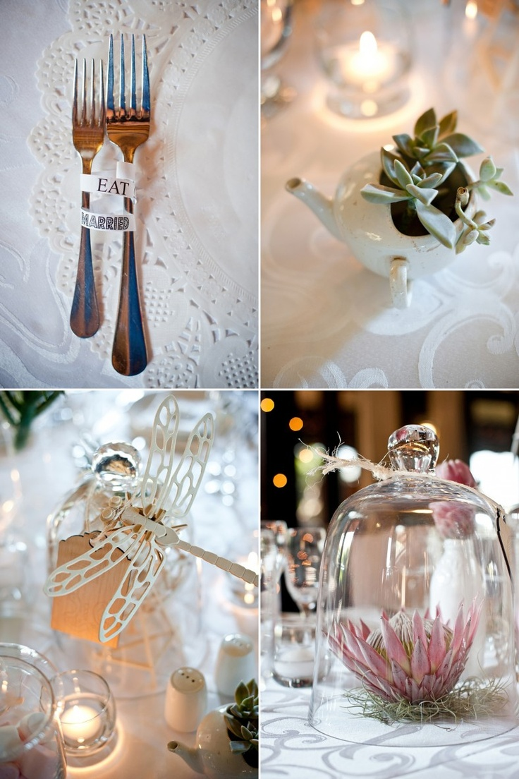 Wedding table decor - proteas in Bell Jar