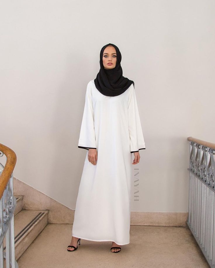INAYAH | White Kimono Abaya with Contrast + Black Georgette Hijab - www.inayah.co
