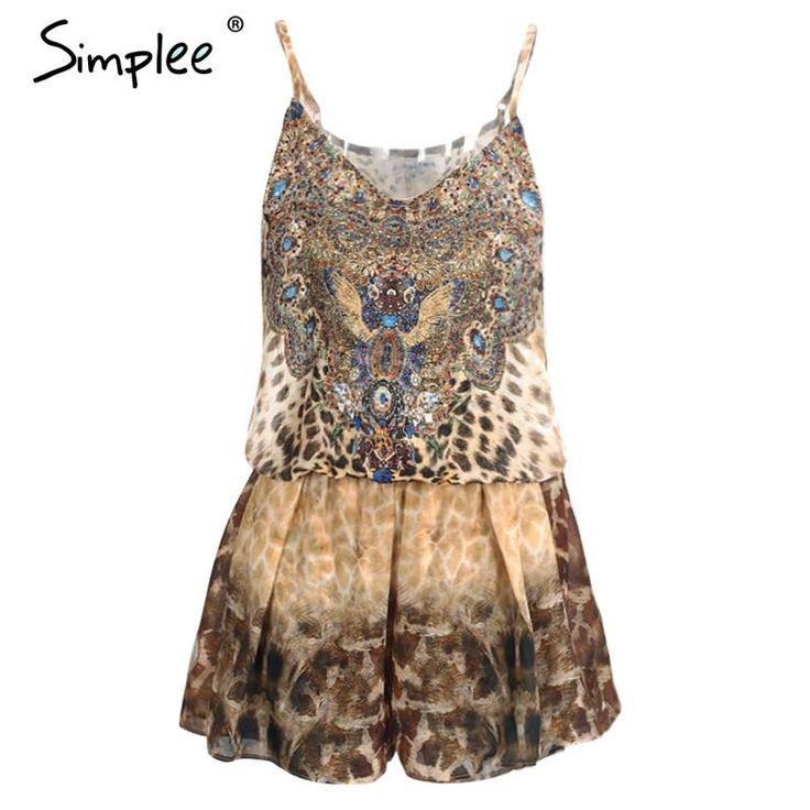 Simplee Leopard Print Brown Jumpsuit