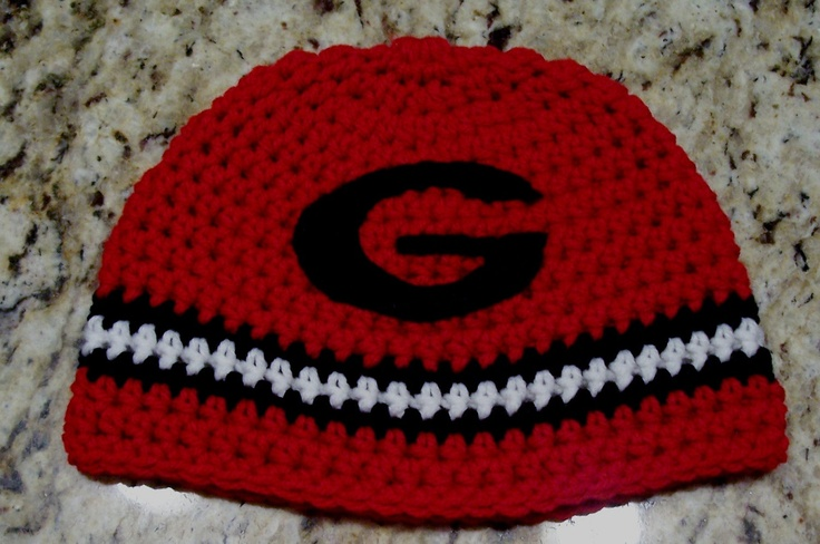 Collegiate hats  Georgia Bulldogs hats, beanies,  for boy or girl, infant and toddler...taking orders.. $13.00, via Etsy.