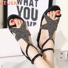 NUEVO 2017 Mujeres Del Verano Sandalias de Gladiador Talón Plano Moda Crystal Sandalias zapatos Femeninos zapatos de mujer sandalia feminina 03(China (Mainland))