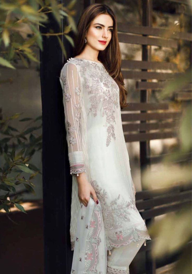 SHOP Designer Wear at PinkPhulkari California. Embroidered Stitched Chiffon Collection by Baroque. www.pinkphulkari.com