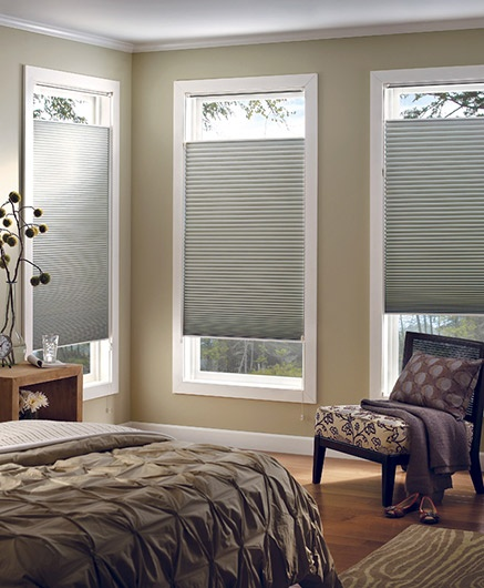 Light grey cellular blinds