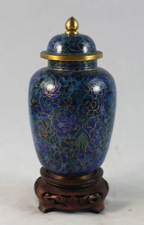 6: Cloisonne Lamp With Wood Base : Lot 0006