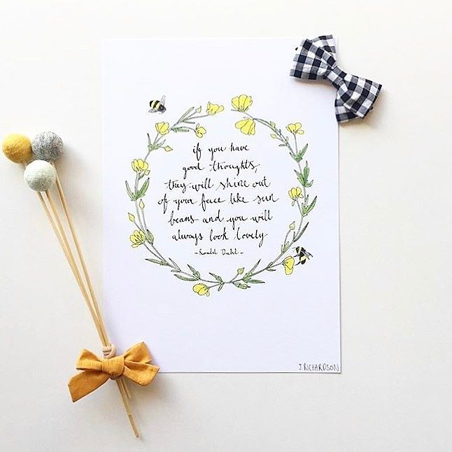 F F F F F F FRIDAAAAAAAAY Oh yes it is and we have sunbeams shining out of us for sure!  Gorgeous print from @wildberry_art (zoom in and check out the little bees!) matched with a trio of our Felt Ball Flowers - perfection!