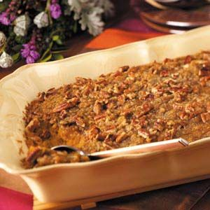 Sweet Potato Casserole with Pecans Recipe from Taste of Home using Canned Sweet Potatoes