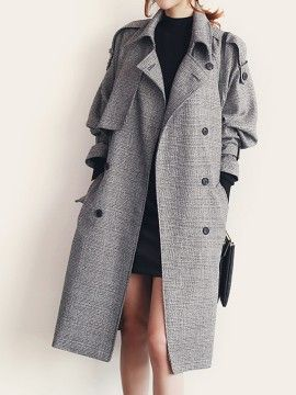 shop monochrome plaid double breasted pocket detail tied trench coat from choiescom - Mantel Der Ideen Frhling Verziert