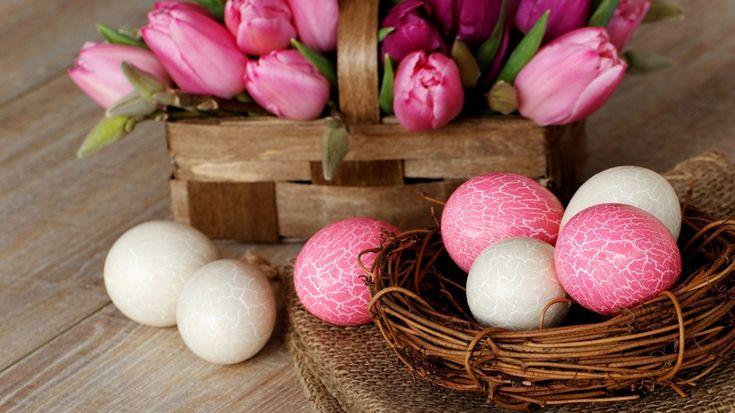 праздник, Пасха, букет, цветы, тюльпаны, корзинка, писанки, яйца, гнездышко