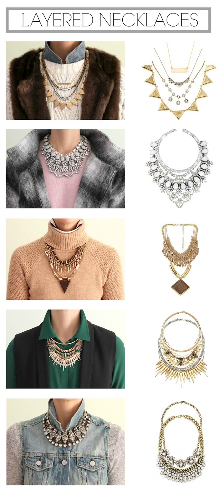 How to layer necklaces with different necklines