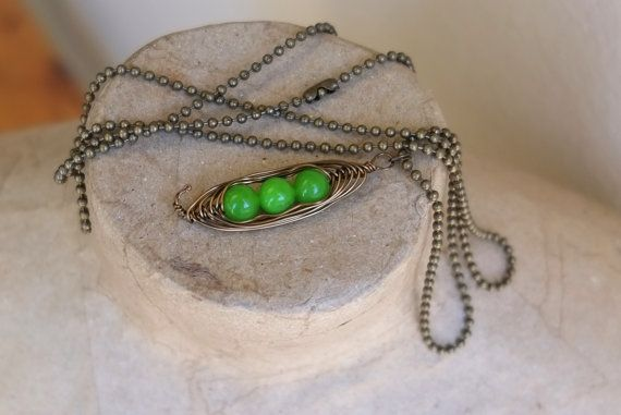 Antique Bronze Hand Wire Wrapped 3 Peas in a Pod by BeadInspiredSA