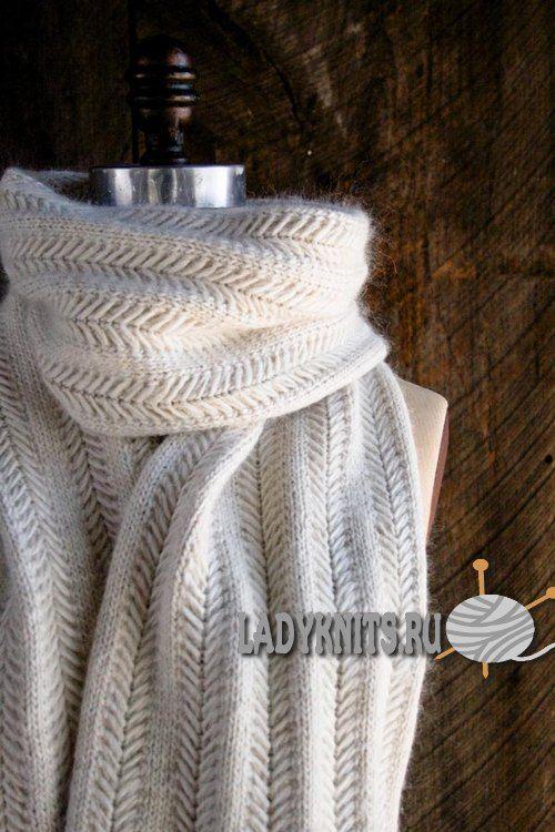 Вязаный спицами шарф Jasmine («Жасмин») от Purl Soho, описание + видео