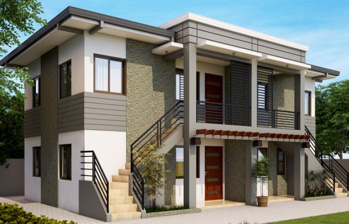 Grey colored bricks, stairs, metal railings and wall features defines Double Storey Elegant Apartment Design. This apartment design consists of 4 units, 2 units in every floor.