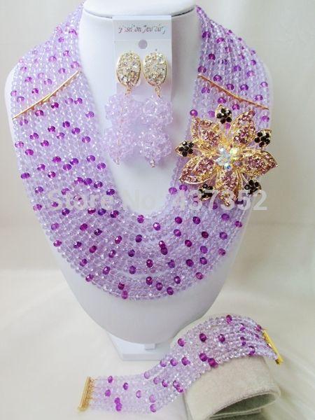 Гламурная Новый Лаванда Сиреневый Фиолетовый смешанная Фиолетовый Кристалл Бисера Нигерии Свадьба Бусы Африканские Бусы Комплект Ювелирных Изделий CPS4463