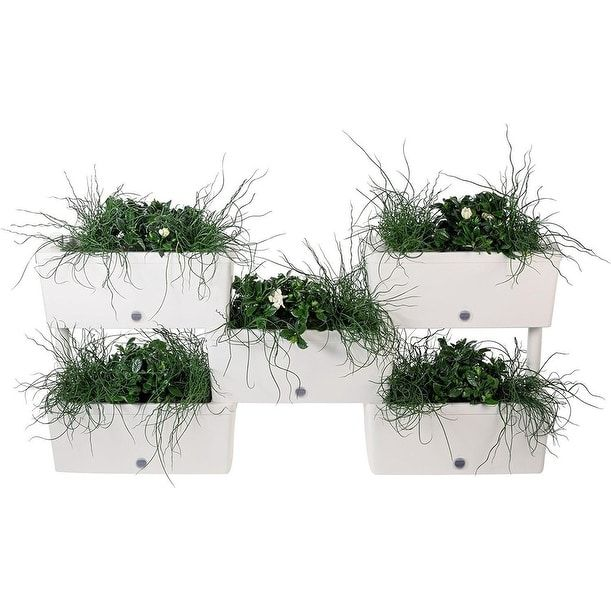 Brick Stack-N-Connect Rectangular Planter By Bama with Easy Irrigation System, 5-Piece Set (taupe), Multi (Plastic) #BRICK-BAMA, Outdoor Décor