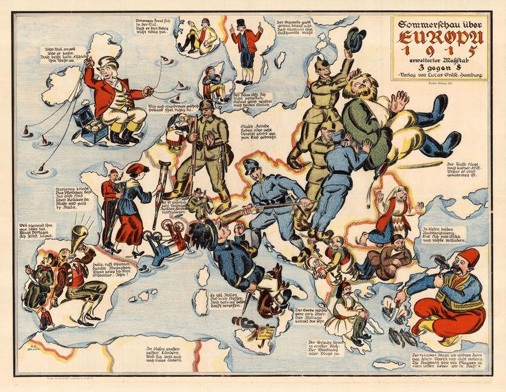 Sommerschau über Europa, 1915 [Summer in Europe in 1915], Este mapa alemán de 1915 nos muestra una visión pictórica de la situación en Europa desde el punto de vista germano. Francia está en muletas, Italia está siendo golpeada en la cara por Austria y Turquía está comiendo buques de guerra aliados.