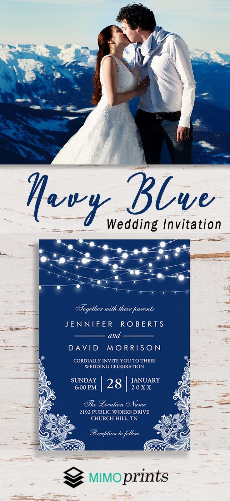 reception information on back of wedding invitation%0A Elegant String Lights White Lace Navy Blue Wedding Card