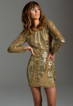 Long Sleeve Short Sequin Dress from Camille La Vie and Group USA Ali Lohan: Goldy Long Sleeve Shorts, Group Usa, Parties Dresses, Elopements Dresses, Shorts Dresses, Shorts Sequins Dresses, Camille The, Holidays Dresses, Camil La