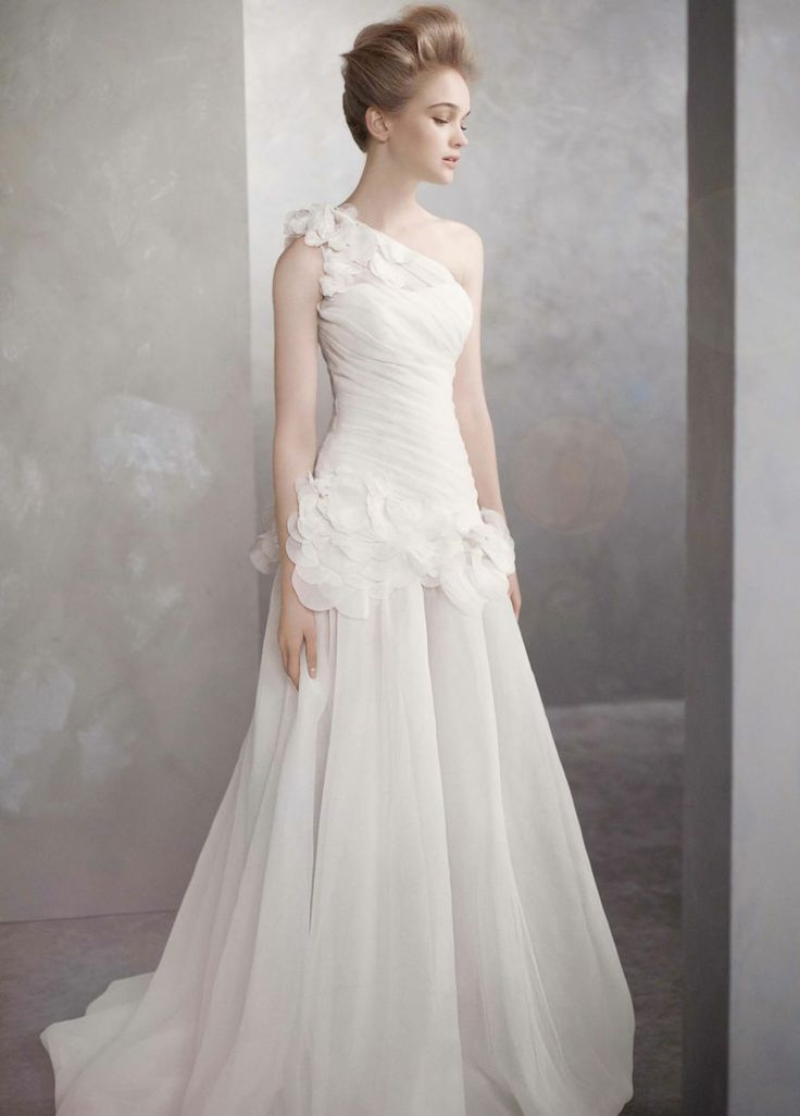 Fresh One Shoulder Basket Weave Organza Gown White by Vera Wang Style VW