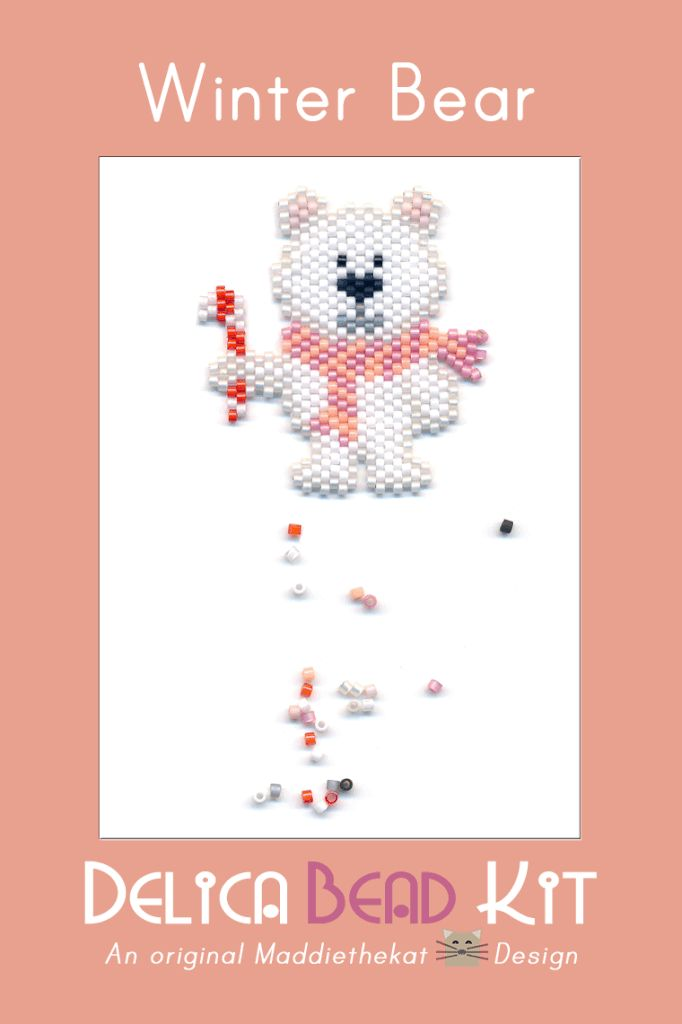 Winter Bear Brick Stitch Seed Bead Pattern PDF or KIT DIY Polar