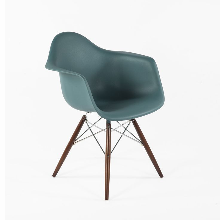 DAW Molded Plastic Armchair - Walnut and Chrome Base - Navy Green