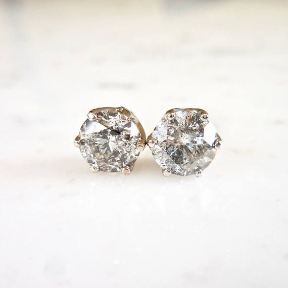 cd8903b1d Salt and Pepper Diamond Studs, Diamond Crown Earrings, Grey Diamond Studs,  14 k White Gold, Crown Setting, Everyday Wear, Unique Diamonds