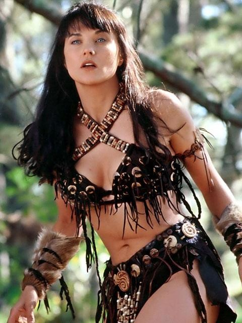 Lucy Lawless as a behind-kicking Amazon in the classic TV show Xena Warrior Princess.