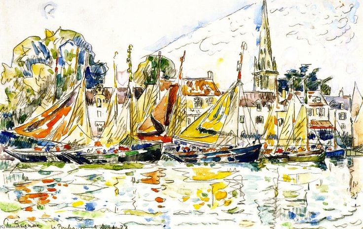 Fishing Boats, Le Pouleguen, Watercolour by Paul Signac (1863-1935, France)