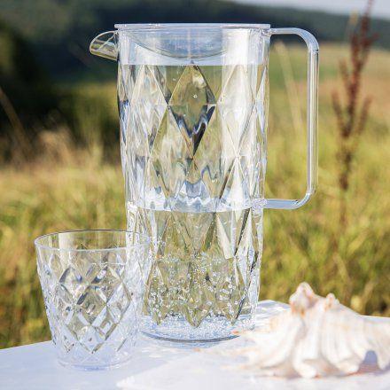 Crystal – Kanne mit Deckel aus Kunststoff mit Rautenschliff von Koziol