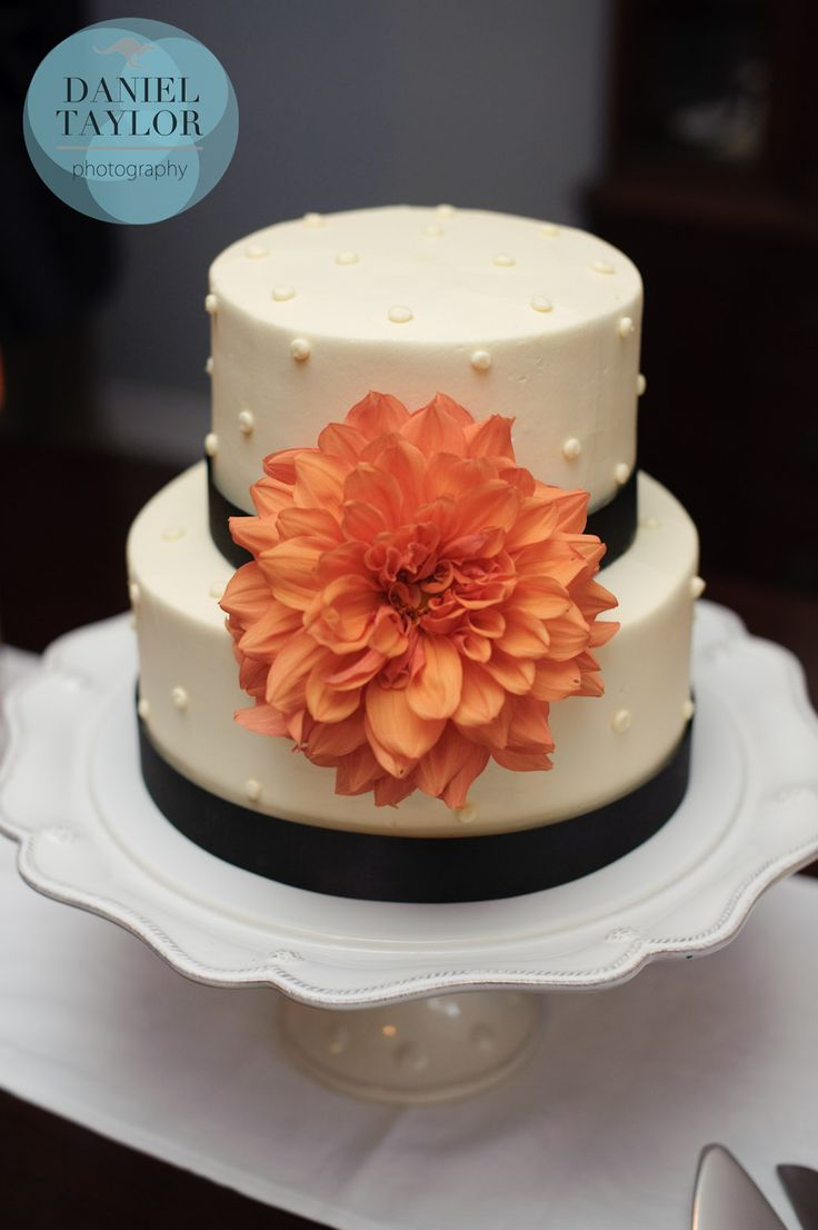 The wedding cake, a beautiful two tiered confection from Olexa's Café, Cakes, and Catering, was adorned with a large orange dahlia and trimmed with brown ribbon   by Dorothy McDaniel's Flower Market; Daniel Taylor Photography #weddingflowers #weddingcake #cakeflowers #alabamaflorist #alabamaphotographer #dahlia