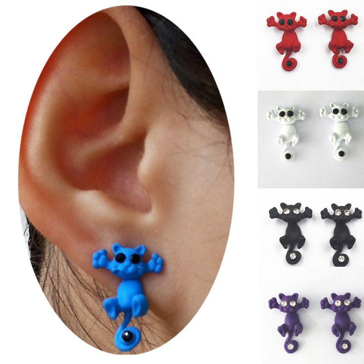1 pair Korean 3D Eye Cute Cartoon Animal Cat Stud Earring Women  Piercing  Ear Studs Jewelry Gifts  boucle d'oreille fe