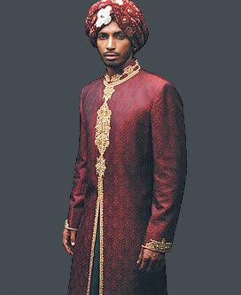 Maroon and gold sherwani
