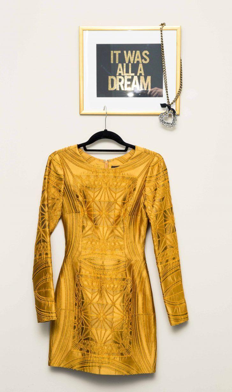 Inside Vera Wang's PR Vice President Priya Shula's Closet: It was all a dream, Lavin Heart Necklace,  Gold Vera Wang Dress | coveteur.com